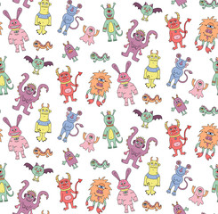 Cute colorful doodle monsters seamless vector pattern