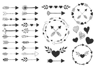 Hearts and arrows. Vector. Isolated.