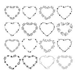 Set of heart frames. Vector.