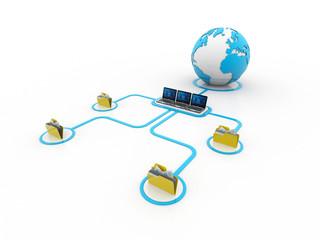 Global Computer Network,3d rendering