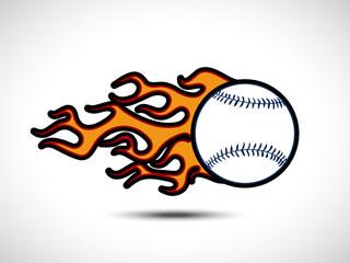 Color graffiti style Baseball on Fire Logo. Fireball icon Vector Illustration. Sport Concept.