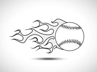 Monochrome Baseball on Fire Logo. Fireball icon Vector Illustration. Sport Concept.