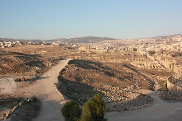 View to Ruins of ancient city Jerash in Jordan, Middle East