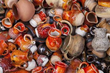 Handmade jars in a street market