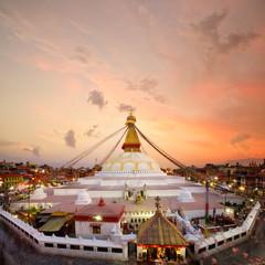 Boudhanath Stupa at sunset in Kathmandu, Nepal