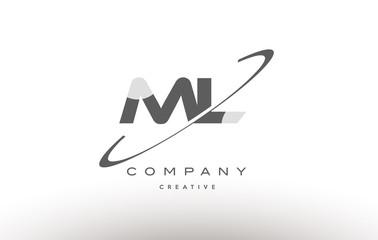 ml m l  swoosh grey alphabet letter logo
