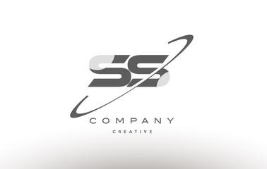 ss s s  swoosh grey alphabet letter logo