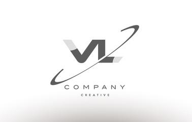 vl v l  swoosh grey alphabet letter logo
