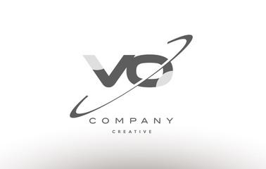 vo v o  swoosh grey alphabet letter logo