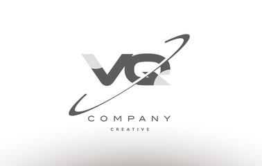 vq v q  swoosh grey alphabet letter logo
