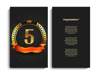 5th anniversary decorated greeting/invitation card template.