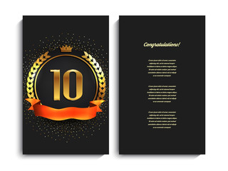10th anniversary decorated greeting/invitation card template.