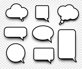Isolated abstract black and white color comics speech balloons icons collection on checkered background, dialogue boxes signs set,dialog frames vector illustration