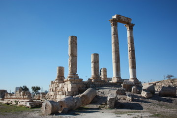 Hercules temple at Citadel hill in Amman in Jordan, Middle East