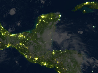 Yucatan at night on planet Earth