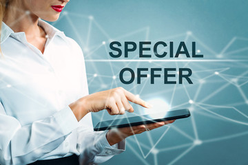 Special Offer text with business woman