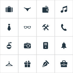 Vector Illustration Set Of Simple Accessories Icons. Elements Digital Camera, Ink Pencil, Underwear And Other Synonyms Handbell, Fragrance And Clothes.