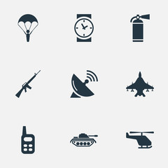 Vector Illustration Set Of Simple Battle Icons. Elements Walkies, Sky Force, Watch And Other Synonyms Plane, Receiver And Force.