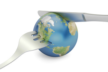 Earth globe with fork and knife, 3D rendering