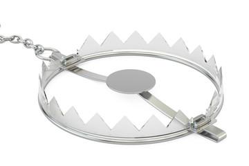 empty glass bear trap, 3D rendering