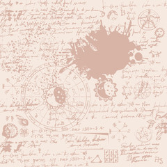 Vector texture with constellations and signs of the zodiac and the text with stains and splashes