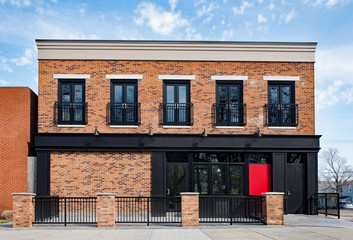 Brick Commercial Building with Black Accents Wall mural