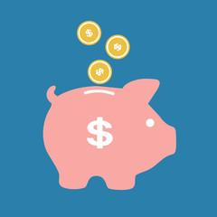 Piggy bank on a blue background