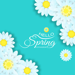 Vector illustration of Hello Spring on the turquoise background with light blue flowers and text.