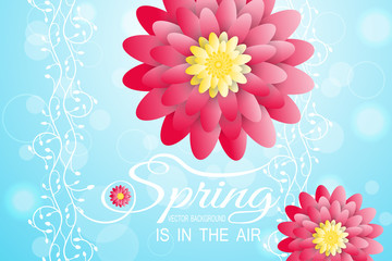 Vector illustration of Spring is in the air on the gradient blue background with floral pattern and red flowers.