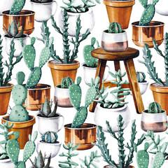 Watercolor cactus tropical garden seamless pattern. Watercolour cactus pattern