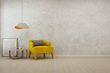 Wall Mural - Living room with empty concrete wall background in modern house - 3D rendering