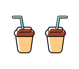 Two paper coffee drink cups, icon isolated.