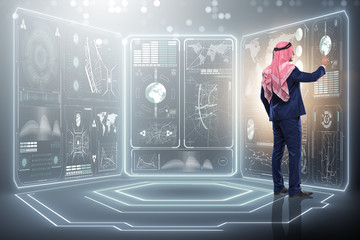 Arab man in global business concept