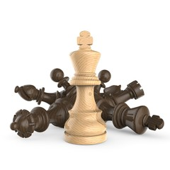 White wooden king standing over fallen wooden black chess pieces 3D
