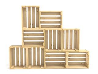 Empty wooden crates arranged 3D
