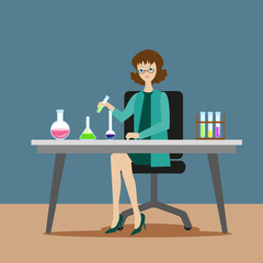 A girl chemist or assistant conducts chemical or biological experiments on mixing solutions. New scientific discoveries. Flat character on grey background. Vector, illustration EPS10.