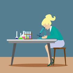 A chemist girl or an assistant observes chemical reactions through a microscope. New scientific discoveries. Flat character on grey background. Vector, illustration EPS10.