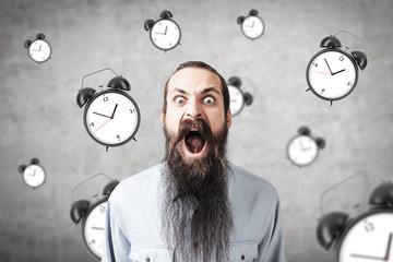 Yelling man and alarm clock, concrete