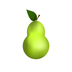 Green pear isolated on white background isolate