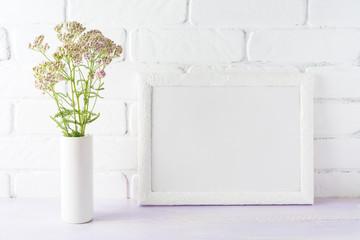 White landscape frame mockup creamy pink flowers in cylinder vase