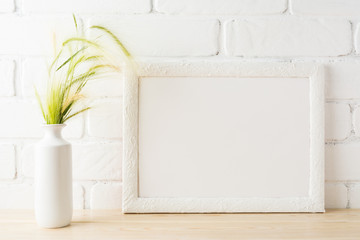White landscape frame mockup with yellow and green wild grass ears