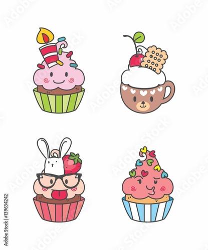 set cupcake kawaii geek desenho cupcake bolo de copo bolinhos