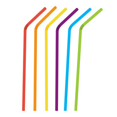 Plastic straws for cocktail set. Orange, red, blue, yellow, green, violet straws. Vector illustration