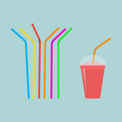 Plastic straws for cocktail set. Red cup of drink with straw. Orange, red, blue, yellow, green, violet straws. Vector illustration