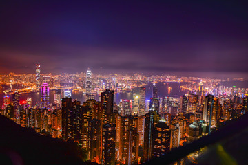 view of skyscrapers in the city of hong kong