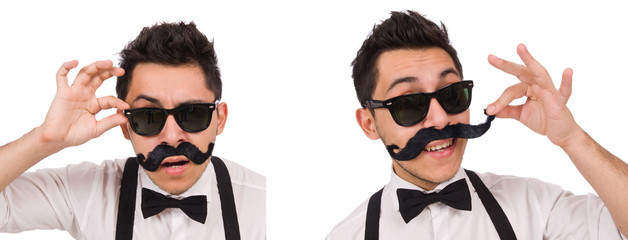Young man with moustache isolated on white