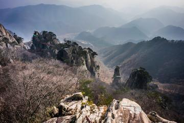 Scenery overlooking from mountain peaks