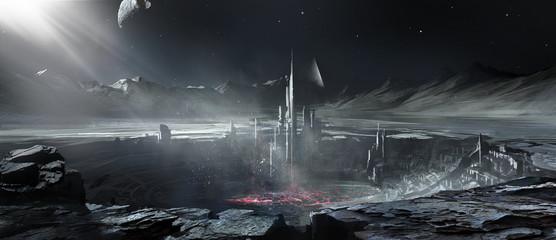 Alien planet building, digital painting.