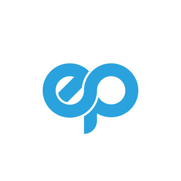 Initial letter ep modern linked circle round lowercase logo blue