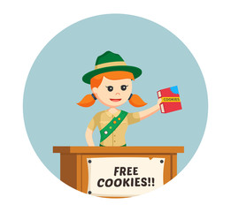 girl scout sharing cookies for free in circle background